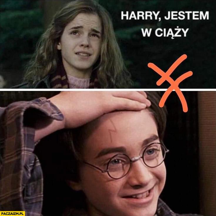 Hermiona Harry jestem w ciąży Harry Potter pokazuje piorun na czole