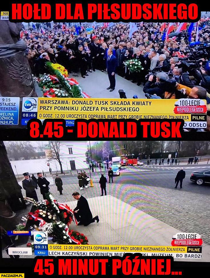 Hołd pod pomnikiem Piłsudskiego Donald Tusk Andrzej Duda porównanie