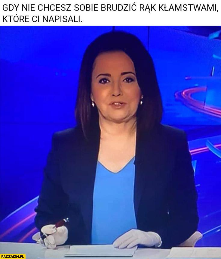 Holecka w rękawiczkach, gdy nie chcesz sobie brudzić rąk kłamstwami które Ci napisali Wiadomości TVP