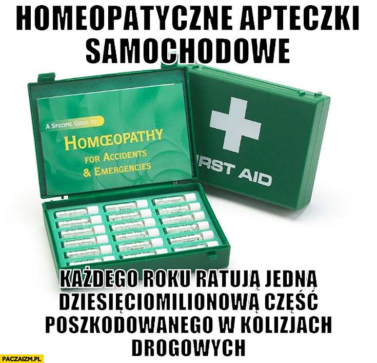 Homeopatyczne apteczki samochodowe każdego roku ratują jedną dziesięciomilionową część poszkodowanego w kolizjach drogowych