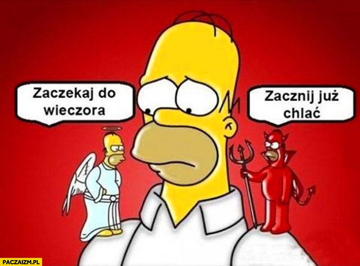 Homer Simpson zaczekaj do wieczora zacznij już chlać