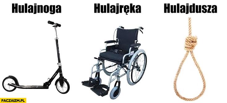 Hulajnoga, hulajręka, hulajdusza wózek inwalidzki sznur szubienica