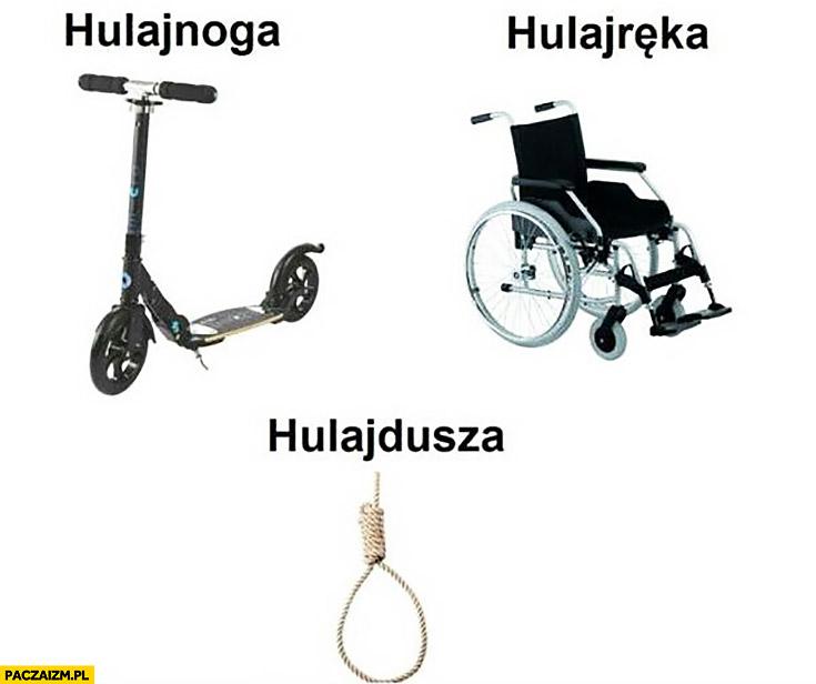 Hulajnoga, hulajręka wózek inwalidzki, hulajdusza sznur do powieszenia się