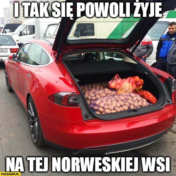 I tak się powoli żyje na tej Norweskiej wsi Tesla ziemniaki w bagażniku
