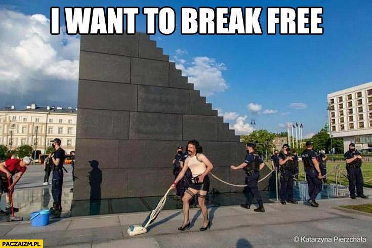 I want to break free facet przebrany za babę odkurza pomnik smoleński