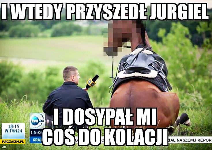I wtedy przyszedł Jurgiel i dosypał mi coś do kolacji dziennikarz TVN przepytuje konia, Stadnina w Janowie