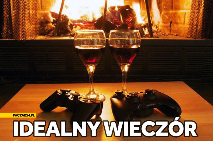 Idealny romantyczny wieczór wino kominek konsola