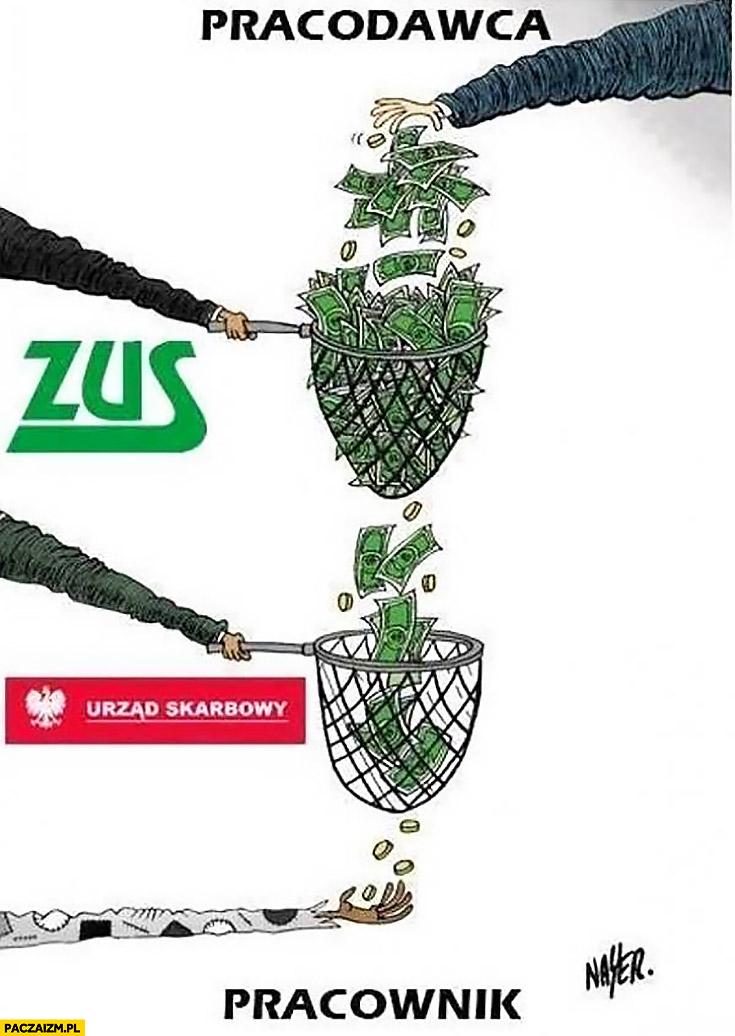 Ile pieniędzy od pracodawcy trafia do pracownika ZUS Urząd Skarbowy sitko koszyk