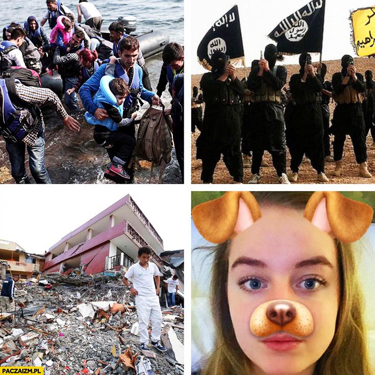 Imigranci ISIS wojna bliski wschód tymczasem w Europie snapchat buźka psa