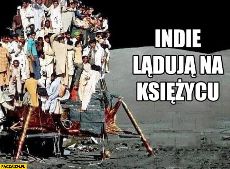Indianie lądują na księżycu lądownik przepełniony ludźmi