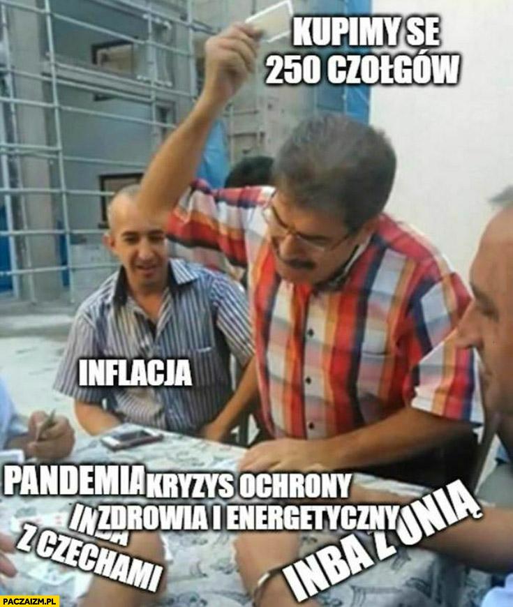 Inflacja, pandemia, afery z unią Czechami, kryzys ochrony zdrowia i energetyki, Polski rząd: kupimy se 250 czołgów karta