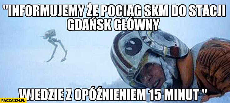 Informujemy, że pociąg SKM Gdańsk Główny wjedzie z opóźnieniem 15 minut. Zamarza na stacji Star Wars Gwiezdne Wojny