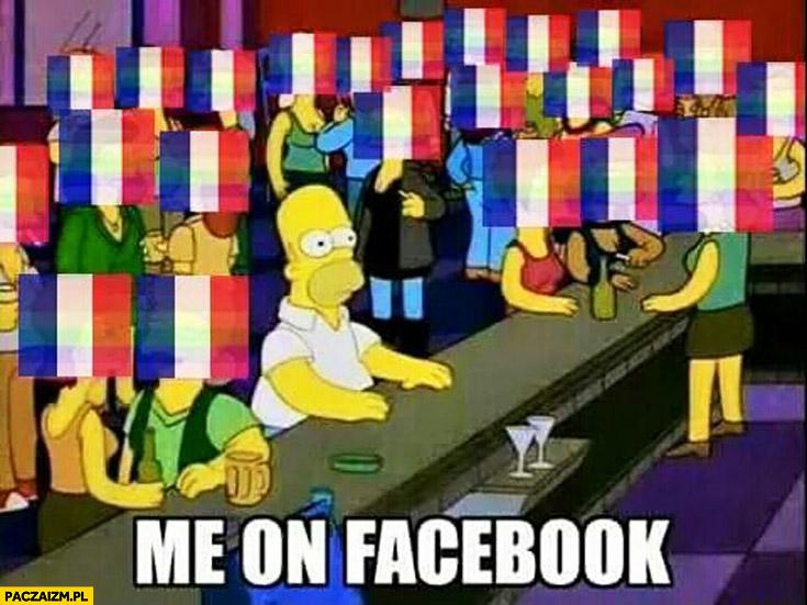 Ja na facebooku Homer Simpson każdy z flagą Francji zdjęcie profilowe