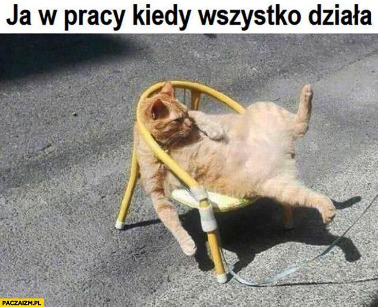 Ja w pracy kiedy wszystko działa kot rozwalony na fotelu