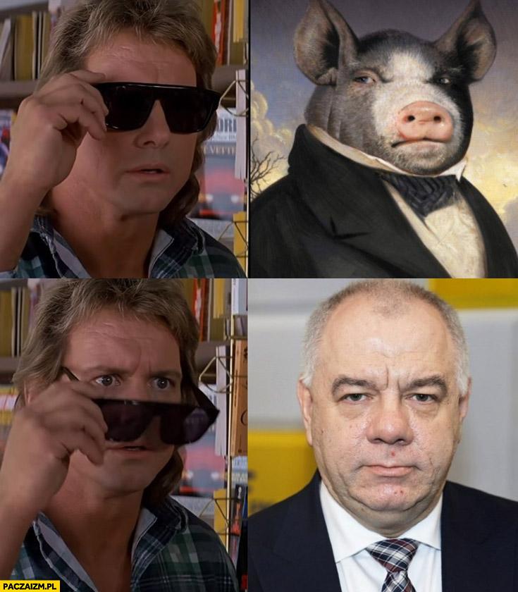 Jacek Sasin wygląda jak świnia knur prosiak widać po zdjęciu okularów