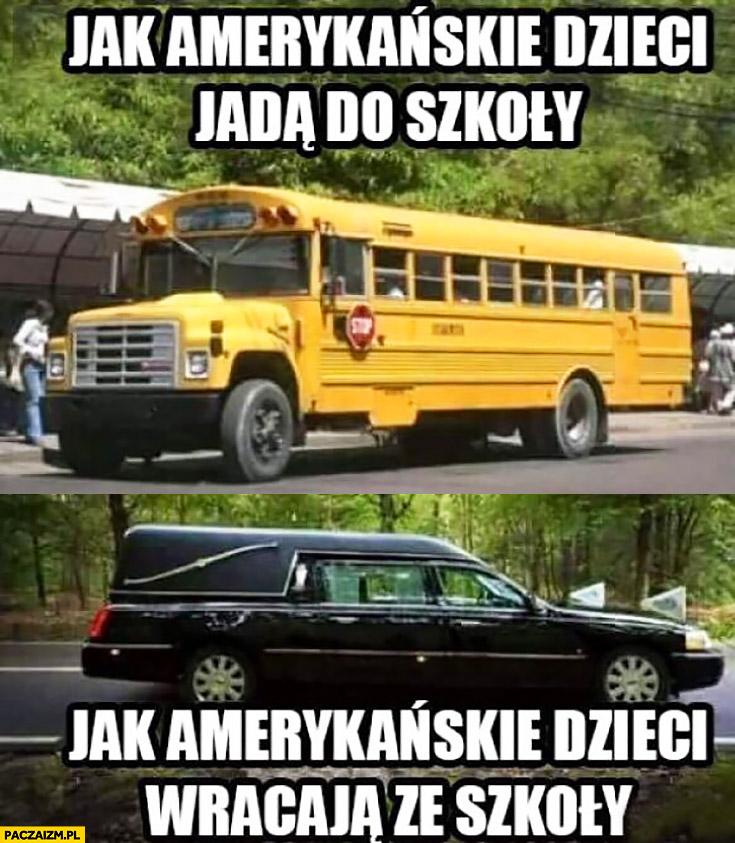 Jak amerykańskie dzieci jadą do szkoły autobus, jak amerykańskie dzieci wracają ze szkoły karawana