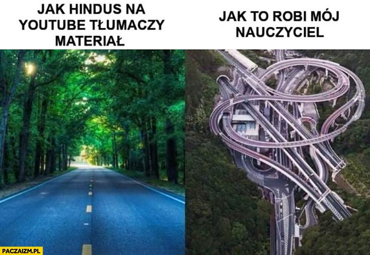 Jak Hindus na YouTube tłumaczy materiał prosta droga vs jak to robi mój nauczyciel skomplikowane