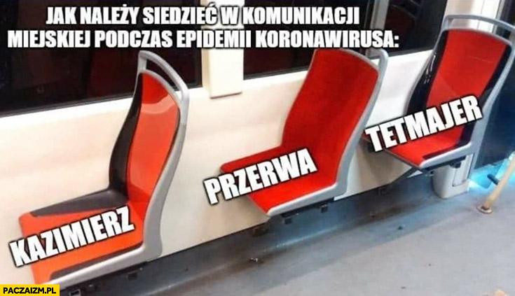 Jak należy siedzieć w komunikacji miejskiej podczas epidemii koronawirusa Kazimierz Przerwa-Tetmajer