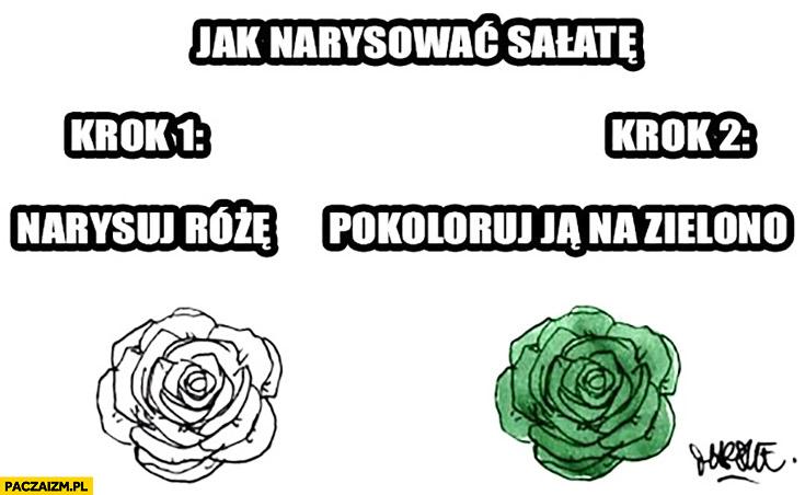 Jak narysować sałatę: krok 1. Narysuj różę, krok 2. pokoloruj ją na zielono