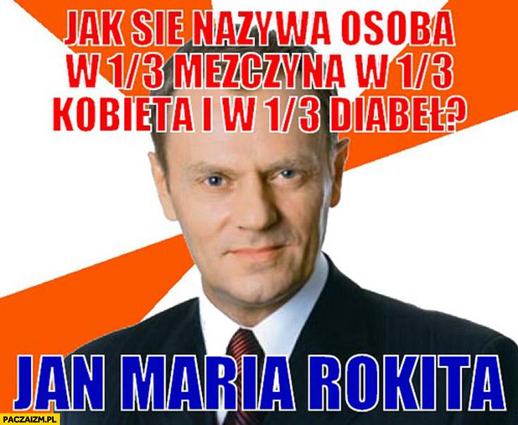 Jak nazywa się osoba w jednej trzeciej 1/3 mężczyzna kobieta diabeł Jan Maria Rokita