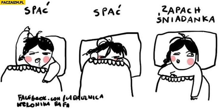 Jak obudzić kobietę spać, zapach śniadanka