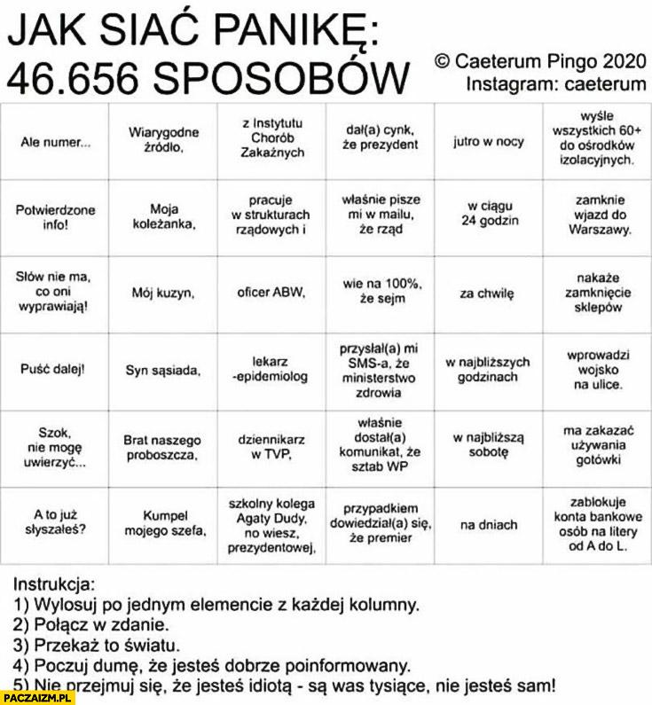 Jak siać panikę 46 tysięcy sposobów tabelka bingo losowanie koronawirus