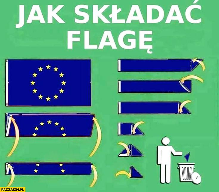 Jak składać flagę Unii Europejskiej do kosza