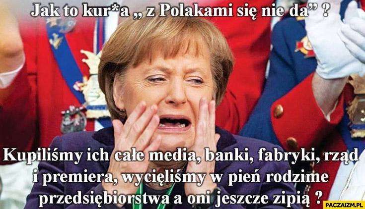 Jak to z Polakami się nie da? Merkel: kupiliśmy ich media, banki, fabryki, rząd, premiera, wycięliśmy rodzinne przedsiębiorstwa a oni jeszcze zipią