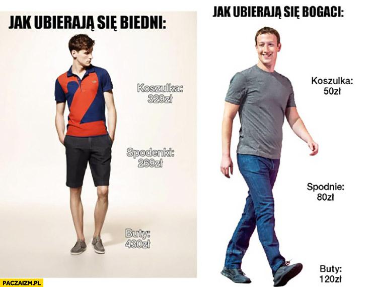 Jak ubierają się biedni vs jak ubierają się bogaci Mark Zuckerberg