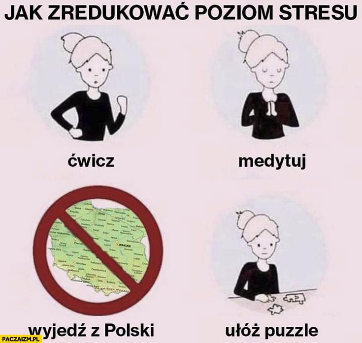 Jak zredukować poziom stresu ćwicz, medytuj, wyjedź z Polski ułóż puzzle