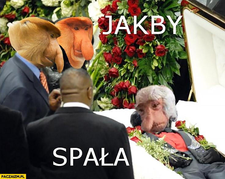 Jakby spała, babcia w trumnie typowy Polak nosacz małpa pogrzeb na pogrzebie