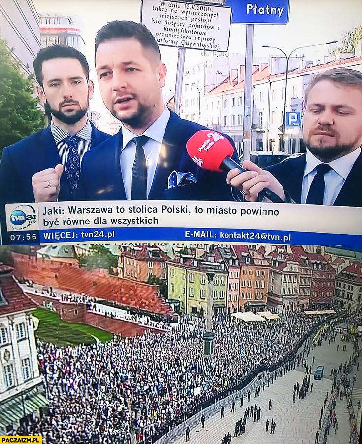 Jaki Warszawa powinna być miastem równym dla wszystkich, podzielona przy obchodach rocznicy miesięcznicy Smoleńskiej