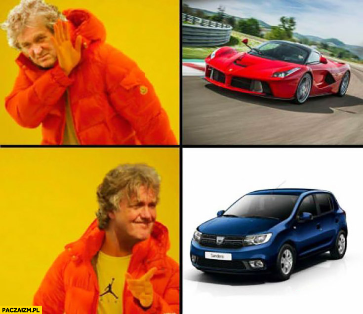 James May nie chce Ferrari chce Dacia Sandero Drake