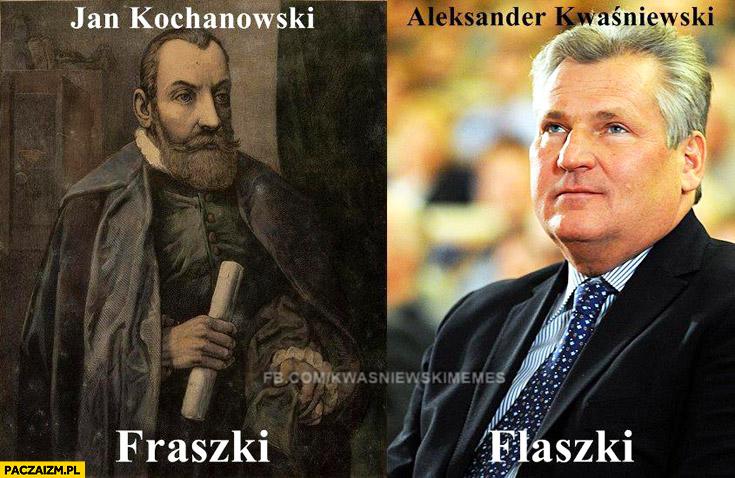Jan Kochanowski fraszki Aleksander Kwaśniewski flaszki