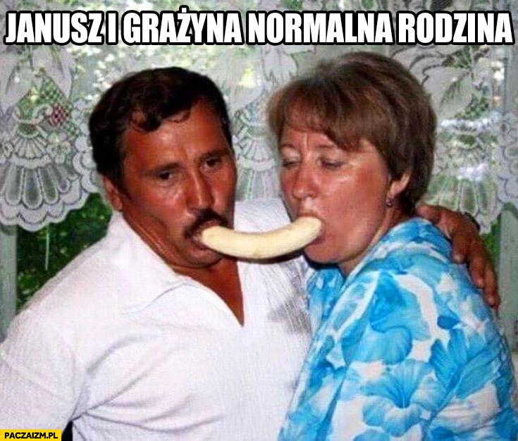 Janusz i Grażyna normalna rodzina jedzą banana