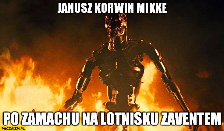 Janusz Korwin-Mikke po zamachu na lotnisku Zaventem w Belgii terminator robot