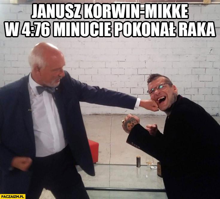 Janusz Korwin-Mikke w 4 minucie 76 sekundzie pokonał raka Popek Monster