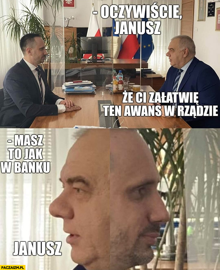 Janusz Kowalski Sasin oczywiście, że załatwię ci ten awans w rządzie, masz to jak w banku dymisja
