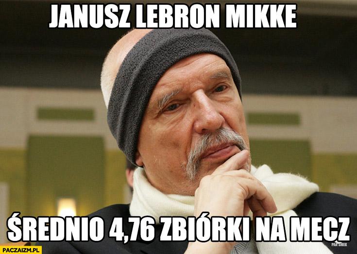 Janusz Lebron Mikke średnio 4,76 zbiórki na mecz Korwin opaska