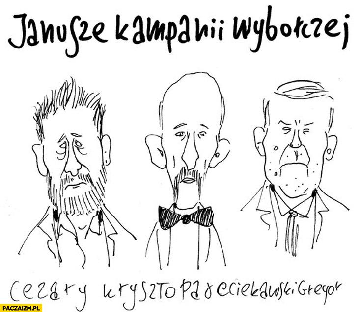 Janusze kampanii wyborczej Palikot Korwin Piechociński karykatura