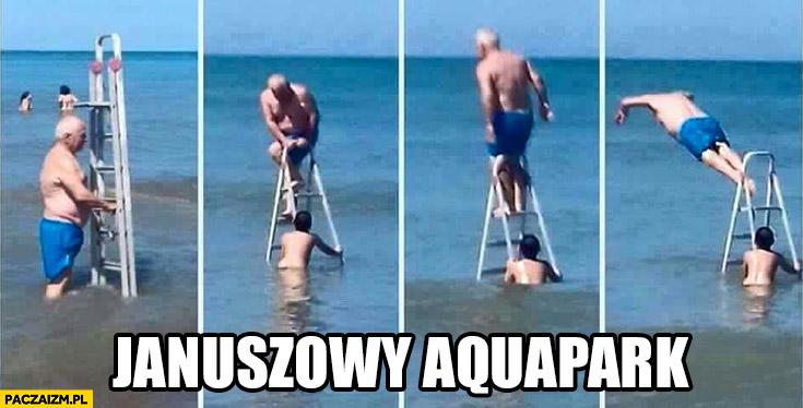 Januszowy aquapark drabina w morzu skacze do wody