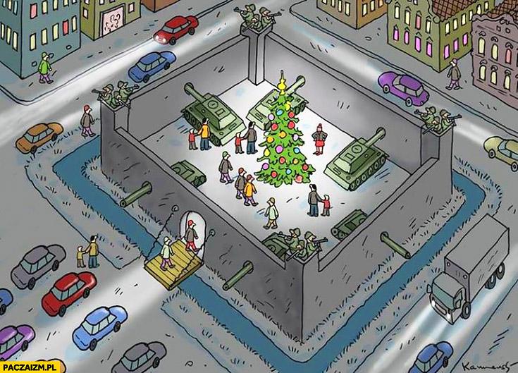 Jarmark świąteczny w Niemczech Berlinie mur fosa czołgi rysunek zamach terrorystyczne