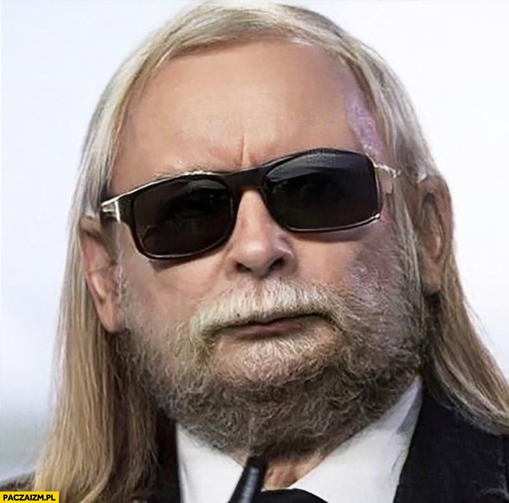 Jarosław Kaczyński nowa stylówa: broda, okulary, długie włosy przeróbka photoshop