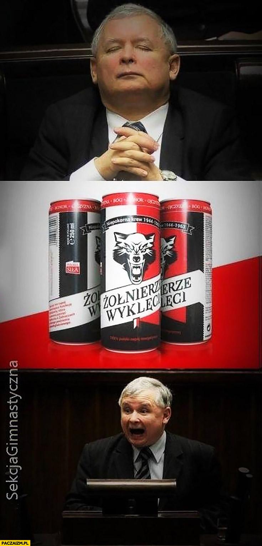 Jarosław Kaczyński po energetyku Żołnierze wyklęci wkurzony zły krzyczy