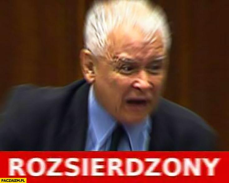 Jarosław Kaczyński rozsierdzony w sejmie mem
