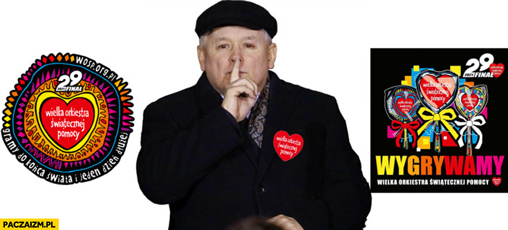 Jarosław Kaczyński z serduszkiem WOŚP wielka orkiestra świątecznej pomocy