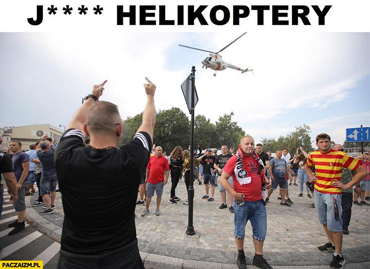Jechać helikoptery narodowiec pokazuje środkowy palec helikopterowi marsz równości Białystok