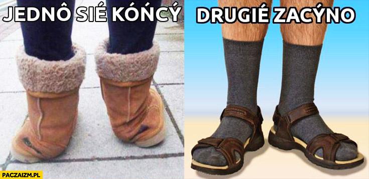Jedno się kończy, drugie zaczyna – końskie buty zimowe, skarpetki w sandałach