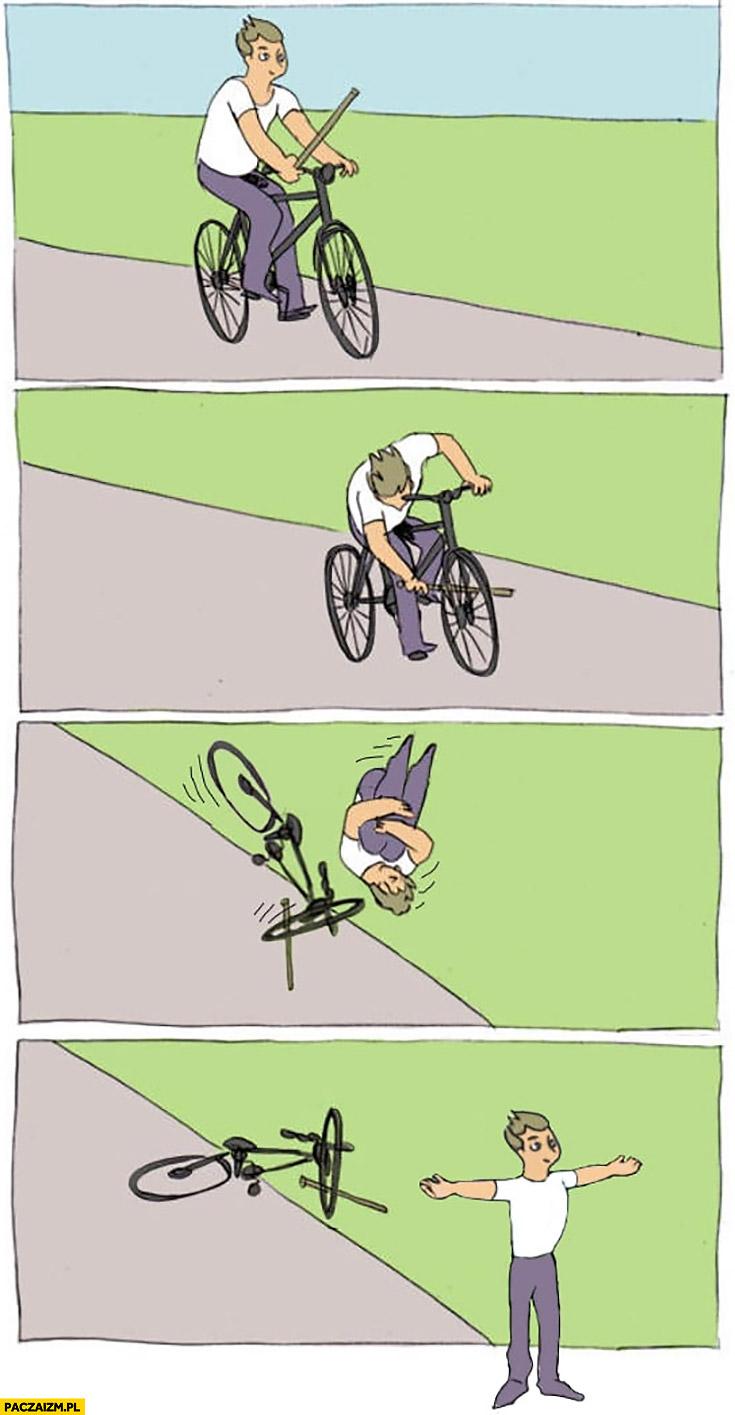 Jedzie na rowerze wkłada kij w szprychy robi salto komiks