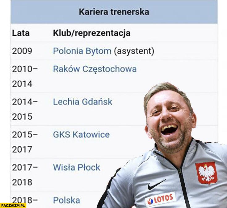 Jerzy Brzęczek kariera trenerska Wikipedia Polonia Raków Lechia GKS Wisła